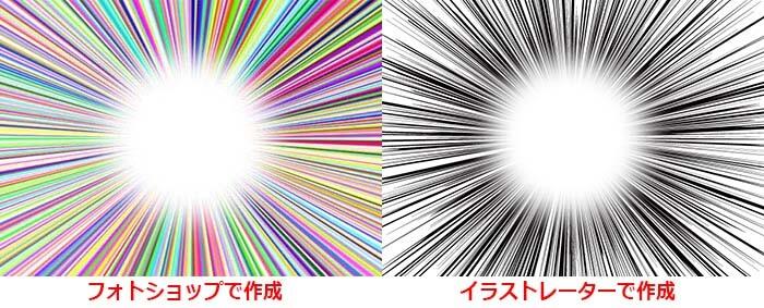 フォトショップ イラストレーター 集中線 比較